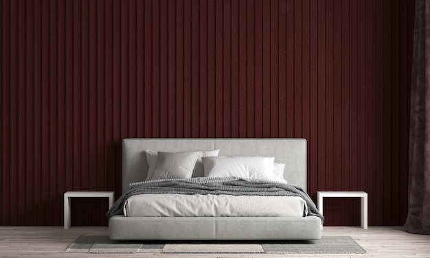 The beautiful modern mock up and interior of bedroom and red texture wall texture backgroundd rendering
