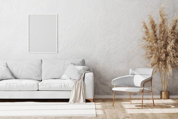 Beautiful modern room with a comfy sofa and armchair Premium Photo