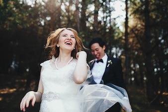 Beautiful moments tenderness outside bridal