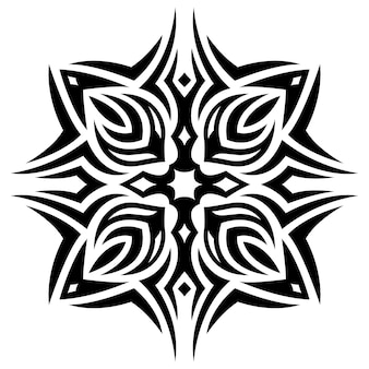 흰색 배경에 고립 된 추상 검은 부족 패턴으로 아름 다운 흑백 문신 벡터 일러스트 레이 션