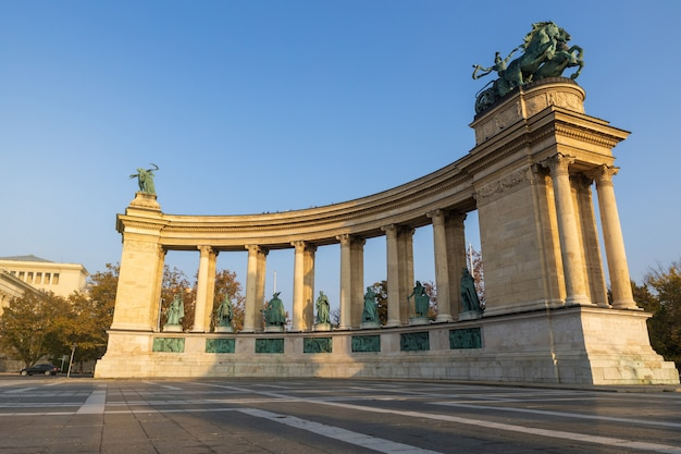 Beautiful monuments at heroes square in budapest on a sunny day