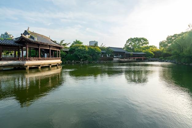 中国寧波の美しい月の湖公園