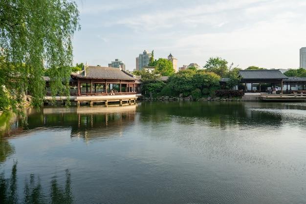 Beautiful moon lake park in ningbo, china