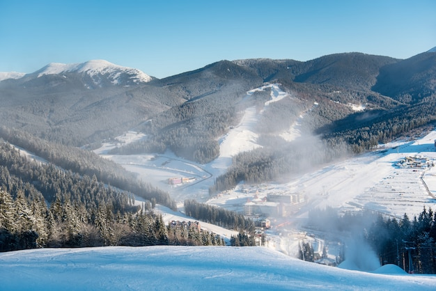 Beautiful morning landscape, nature, ski slopes, ski resort in the winter