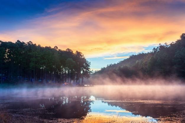 Bella mattina al lago pang ung, provincia di pang ung mae hong son in thailandia. Foto Gratuite