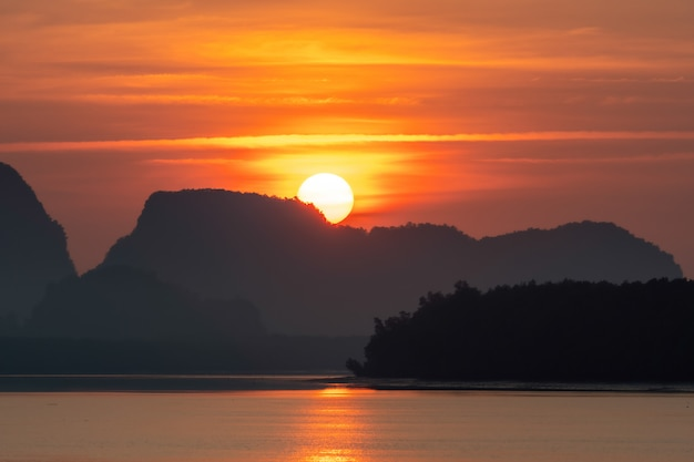 Beautiful morning view of fisherman village in krabi, thailand