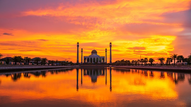 Beautiful mosque in the sunset.