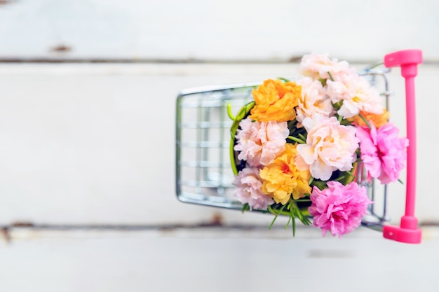 A beautiful moss rose flowers in a mini green bucket in mini cart on wooden floor.