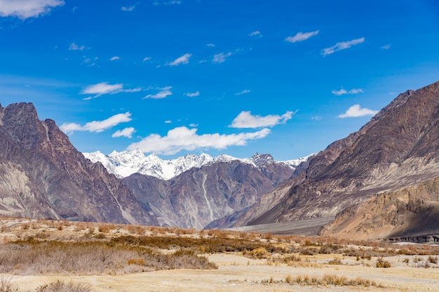Beautiful mountain landscape background this way go to turtuk valley in ladakh, india