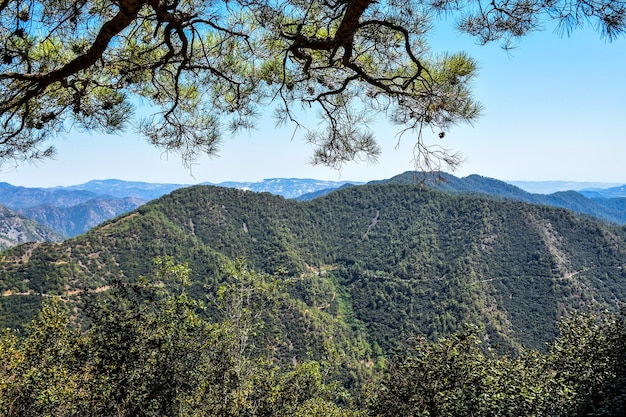 Beautiful mountain landscape in cyprus on a sunny summer day