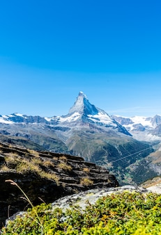 Beautiful mountain landscape with views of the matterhorn peak in zermatt, switzerland.