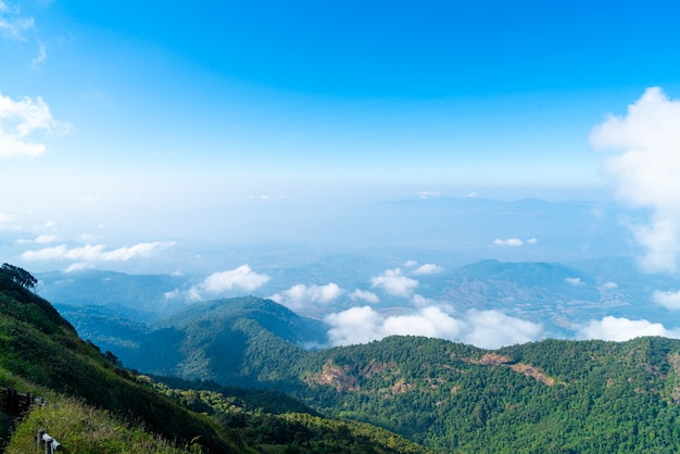 Beautiful mountain layer with clouds and blue sky at  kew mae pan nature trail in chiang mai, thailand