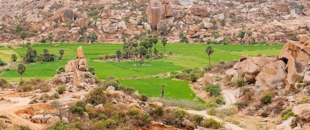 インド、カルナータカ州ハンピ周辺の水田と丘の美しい山の岩の風景