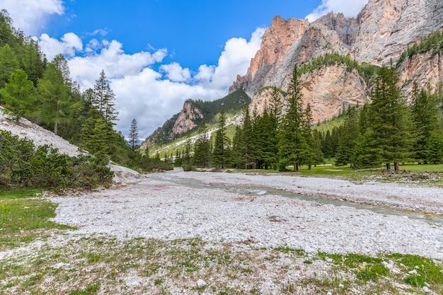 Красивый горный ручей в летний солнечный день в итальянских доломитах