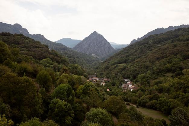 曇り空の美しい山の景色