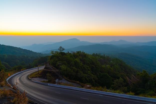 Beautiful mountain view with twilight sky