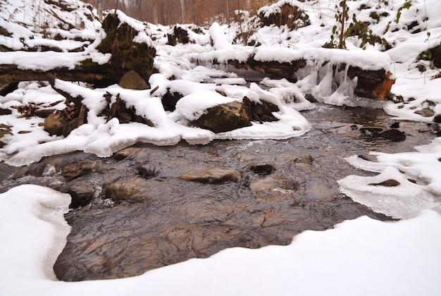 Красивый горный водопад, покрытый льдом. зимний пейзаж. замерзший ручей в горах