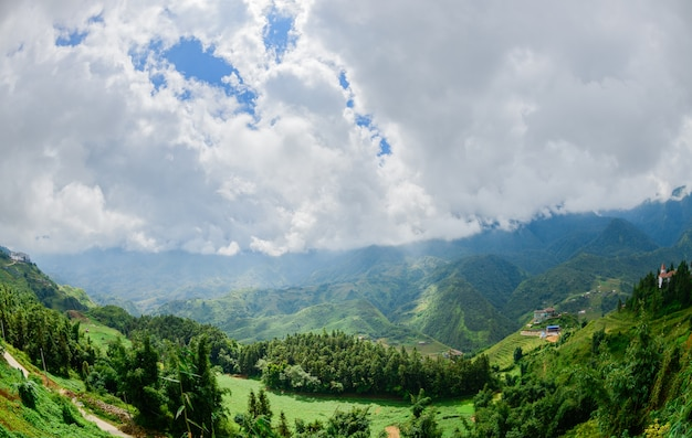 Beautiful mountain with rice terraces in morning