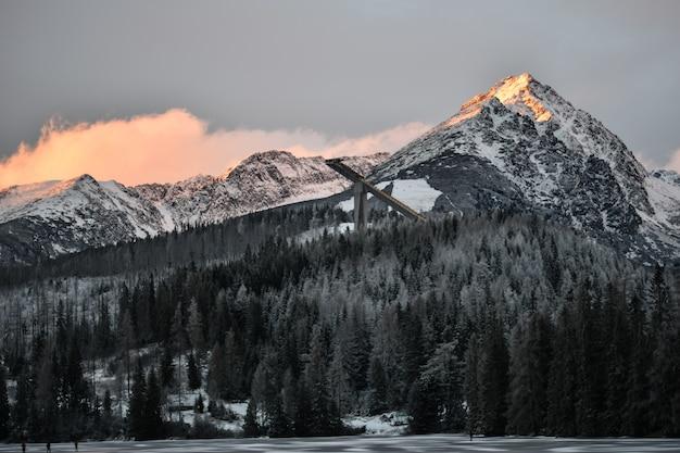 スロバキアのハイタトラスの冬の美しい山々と森