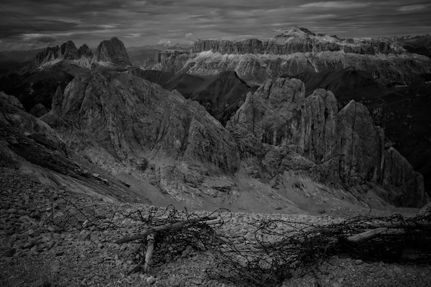 Beautiful mountains and hills shot in black and white