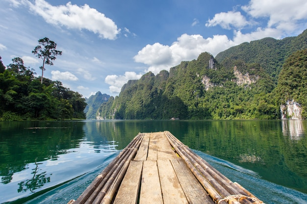 Beautiful mountains lake river sky and natural attractions in ratchaprapha dam at khao sok national park
