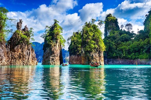 Beautiful mountains in ratchaprapha dam at khao sok national park, surat thani province, thailand.