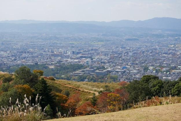 日本の奈良市で美しい奈良山。奈良公園は野生動物の鹿を見る有名なランドマークです Premium写真