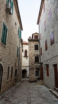 Beautiful narrow streets of the old european city stone paved paths