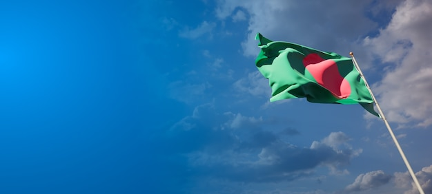 Beautiful national state flag of bangladesh with blank space. bangladesh flag  with place for text 3d artwork.