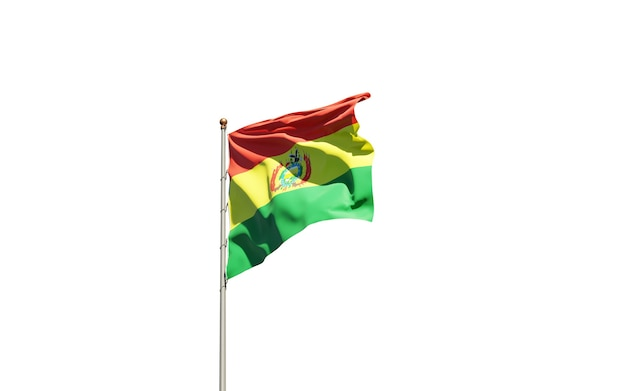 Beautiful national state flag of bolivia on white background.