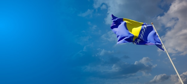 Beautiful national state flag of bosnia and herzegovina with blank space. flag  with place for text 3d artwork.
