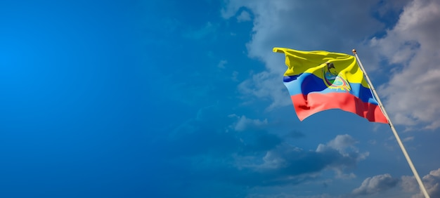 Beautiful national state flag of ecuador on blue sky