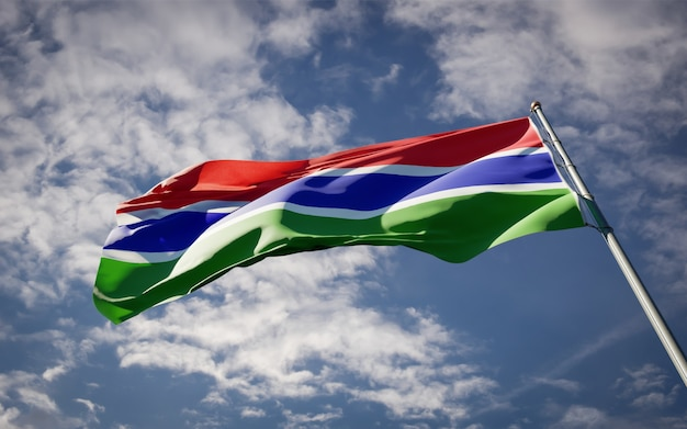 Beautiful national state flag of gambia fluttering