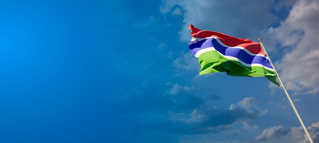 Beautiful national state flag of gambia with blank space on wide background