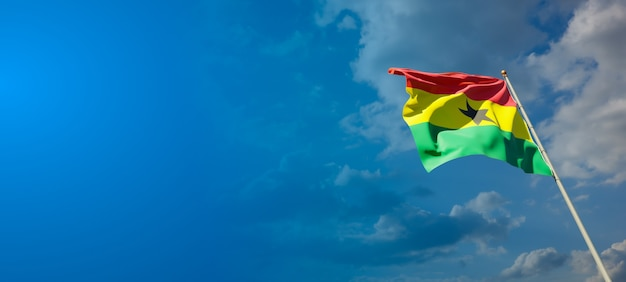 Beautiful national state flag of ghana with blank space on wide background