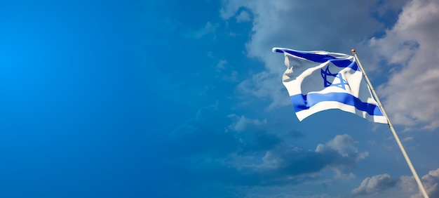 Beautiful national state flag of israel with blank space on wide background