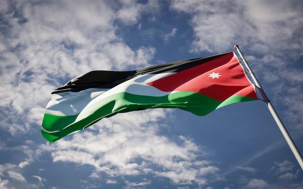 Beautiful national state flag of jordan fluttering