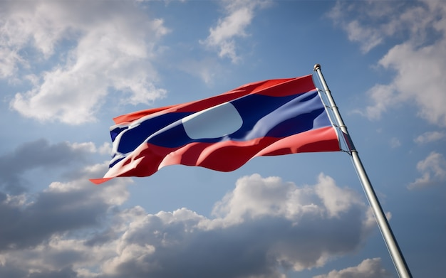 Beautiful national state flag of laos fluttering