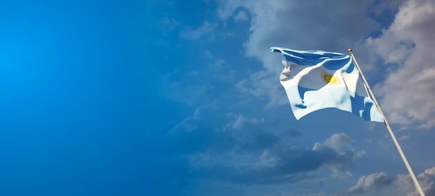 Красивый национальный государственный флаг аргентины с пустым пространством. флаг аргентины с местом для текста 3d.