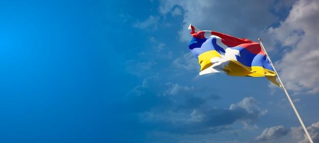 Красивый национальный государственный флаг арцаха с пустым пространством. флаг арцаха с местом для текста 3d иллюстрации.