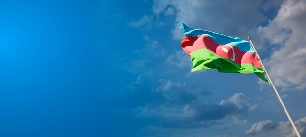 Красивый национальный государственный флаг азербайджана с пустым пространством. азербайджанский флаг с местом для текста 3d иллюстрации.