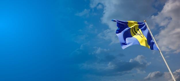 Красивый национальный государственный флаг барбадоса с пустым пространством. флаг барбадоса с местом для текста 3d иллюстрации.
