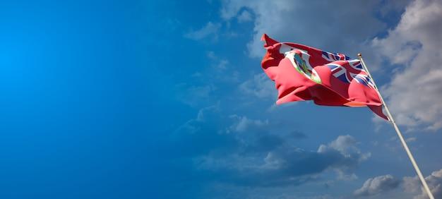 Красивый национальный государственный флаг бермудских островов с пустым пространством. флаг бермудских островов с местом для текста 3d иллюстрации.
