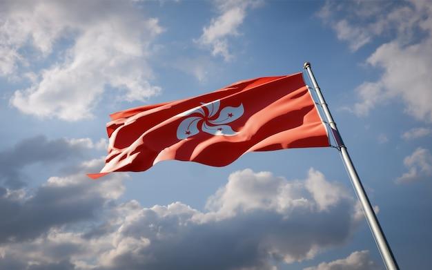 Красивый национальный государственный флаг гонконга развевается