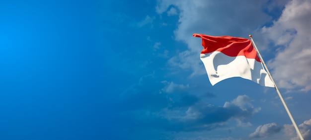 넓은 배경에 빈 공간이있는 인도네시아의 아름다운 국가 국기