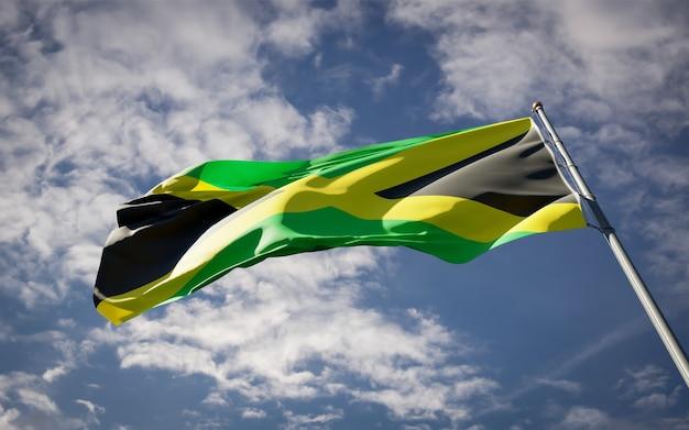 ジャマイカの美しい国民国家の旗がはためく