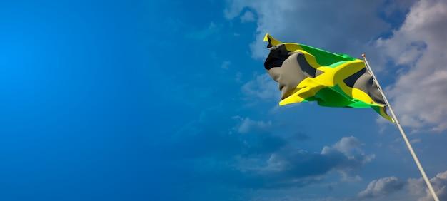 広い背景に空白のジャマイカの美しい国民国家旗
