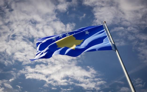 Красивый национальный государственный флаг косово развевается