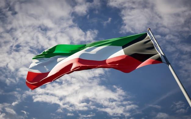 Красивый национальный государственный флаг кувейта развевается