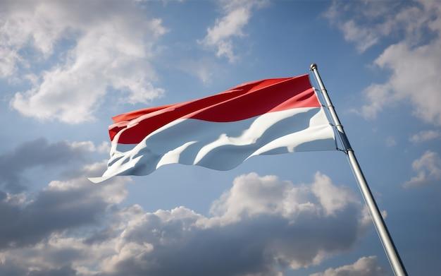 モナコの美しい国民国家の旗がはためく